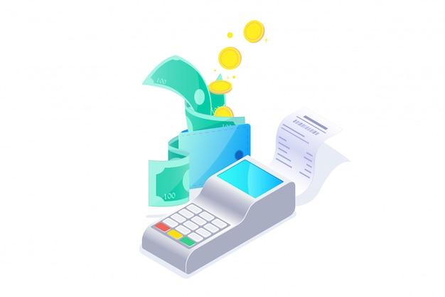 Pagamento di sicurezza con il concetto di macchina per carta di credito, sistema di elaborazione delle transazioni di fatturazione, finanziaria online. illustrazione.