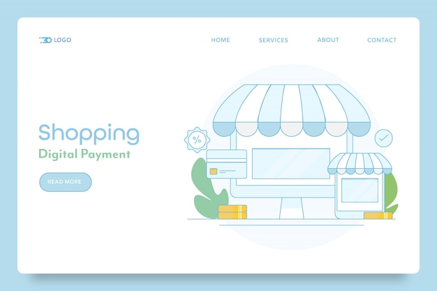 Pagamento digitale per banner concettuale dello shopping online