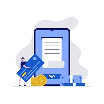 Pagamento mobile online o concetto di trasferimento di denaro con carattere. pagamenti via internet, banca online.
