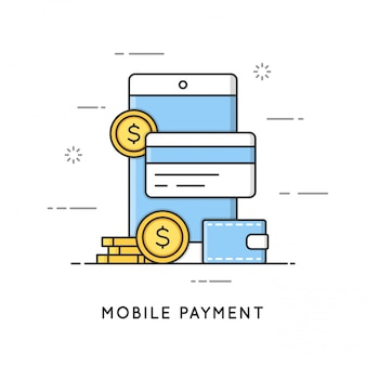 Pagamento mobile, transazioni online e servizi bancari. stile arte linea piatta. tratto modificabile.