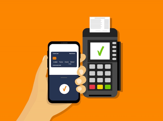 Pagamento mobile wireless. pagamento nfc. terminale pos e smartphone in mano. stile piatto.