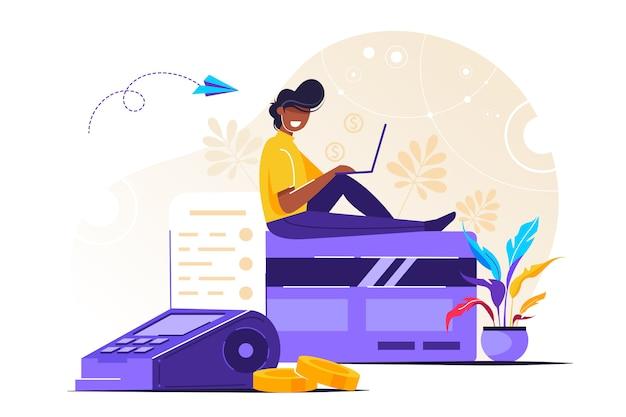 Pagamento online con carta di credito con uomo moderno