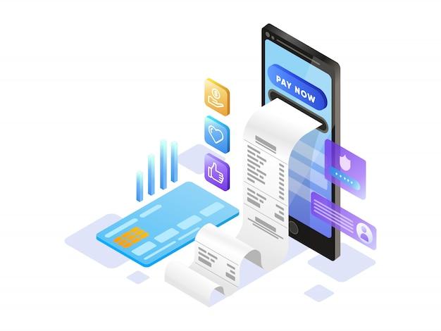Pagamento online con cellulare isometrico