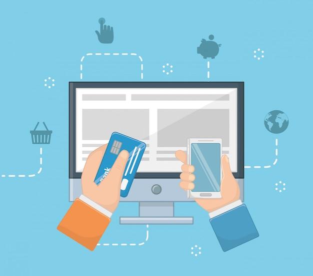 Pagamento online icon set design