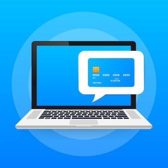 Pagamento online su computer. contabilità finanziaria, notifica di pagamento elettronica