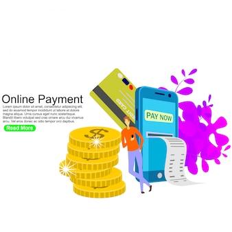 Pagamento online, trasferimento di denaro, portafoglio mobile. modello di sfondo
