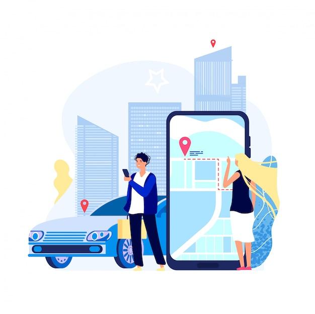 Pagamento per il trasporto in auto con app di autonoleggio