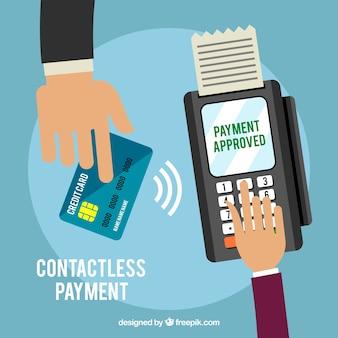 Pagamento senza contatti con le mani piatte e carta di credito