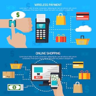 Pagamento senza fili e banner per lo shopping online