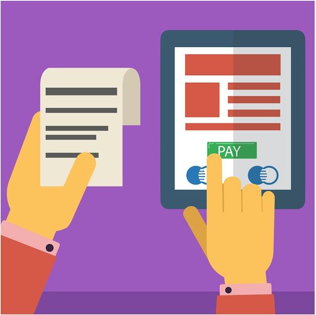 Pagare il conto tramite internet utilizzando smartphone e tablet