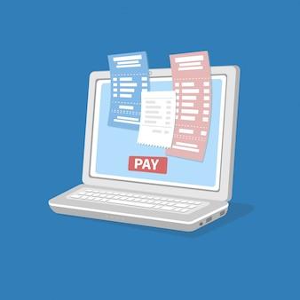 Pagare le bollette conto online fiscale tramite computer o laptopbackground.