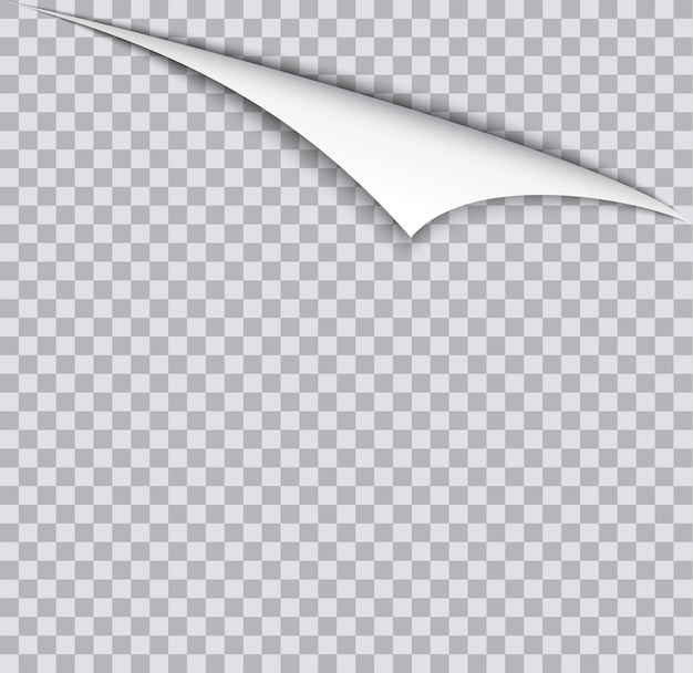 Pagina arricciata con ombra sul foglio di carta bianco.