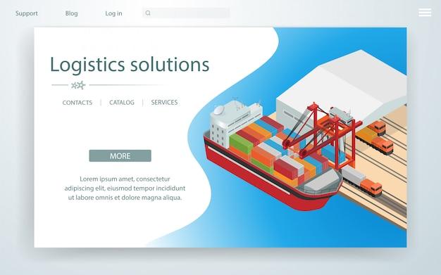 Pagina banner soluzioni logistiche su nave da carico.