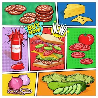 Pagina comica di pubblicità sandwich