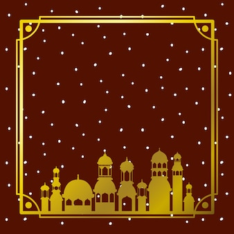 Pagina con la costruzione dorata della moschea con il cielo delle stelle