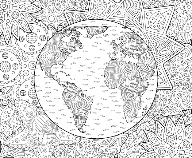 Pagina da colorare adulto con pianeta terra