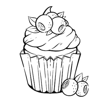 Pagina da colorare con deliziosi cupcake, panna, mirtilli e foglie. muffin ai frutti di bosco in stile kawaii.