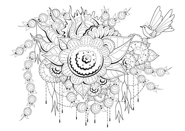 Pagina da colorare con fiori, boccioli e uccelli.