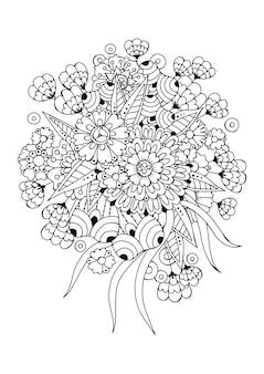 Pagina da colorare con fiori e boccioli. illustrazione vettoriale.