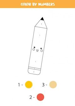 Pagina da colorare con matita kawaii carina con numeri.