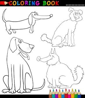 Pagina da colorare dei cani o dei cuccioli del fumetto