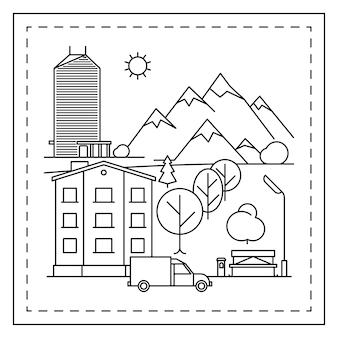 Pagina da colorare del paesaggio della città per i bambini