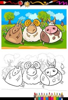 Pagina da colorare di animali da fattoria del fumetto