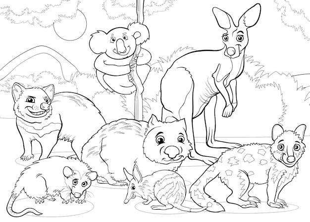 Pagina da colorare di animali marsupiali fumetto