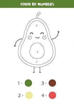 Pagina da colorare di avocado carino. colore per numeri.