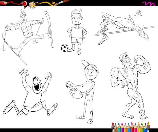 Pagina da colorare di cartoni animati sportivi