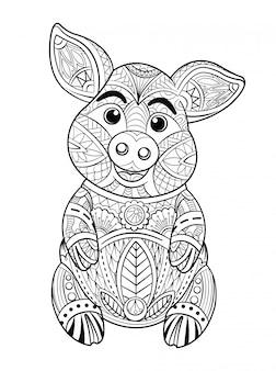 Pagina da colorare di maiale
