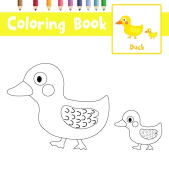 Pagina da colorare di mamma e piccola anatra