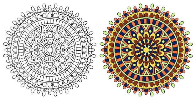 Pagina da colorare di mandala design