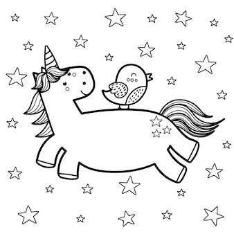 Pagina da colorare di unicorno magico con il suo amico uccello. ottimo per il libro da colorare per bambini. sfondo bianco e nero di fantasia. illustrazione