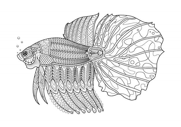 Pagina da colorare disegnata a mano di pesce combattente.
