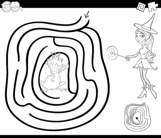 Pagina da colorare labirinto di fiaba