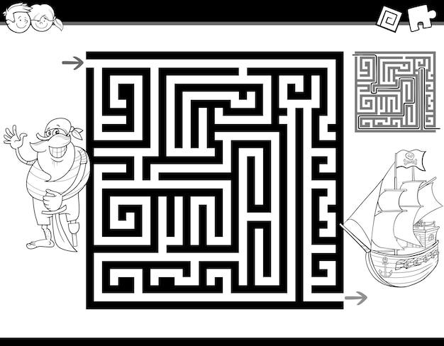 Pagina da colorare labirinto o labirinto