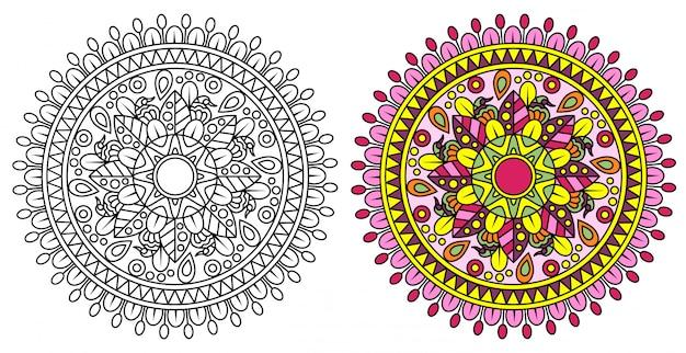 Pagina da colorare mandala decorativo
