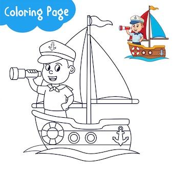 Pagina da colorare per bambini marinaio