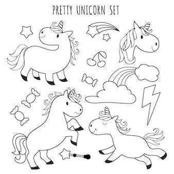 Pagina da colorare per bambini. unicorno impostato per libro da colorare