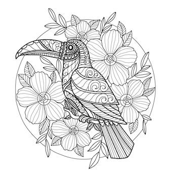 Pagina da colorare tucan e fiori per adulti