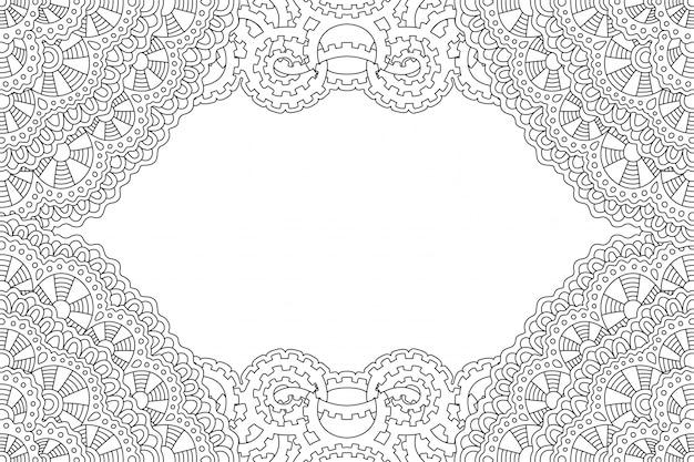 Pagina del libro da colorare con cornice monocromatica lineare