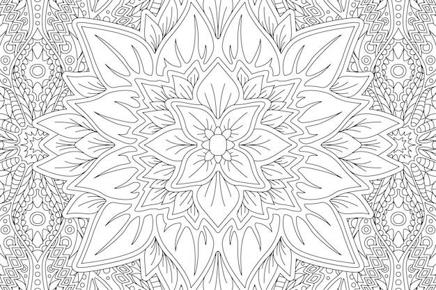 Pagina del libro da colorare con fiore astratto