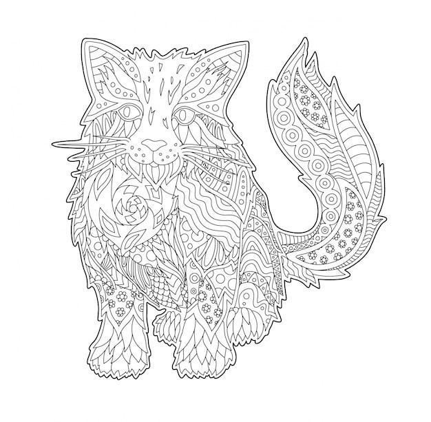 Pagina del libro da colorare con gatto divertente cartone animato