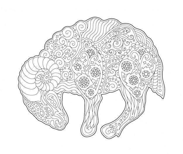 Pagina del libro da colorare con il simbolo dello zodiaco ariete