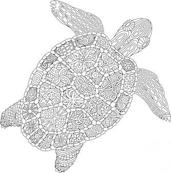 Pagina del libro da colorare con la tartaruga su fondo bianco