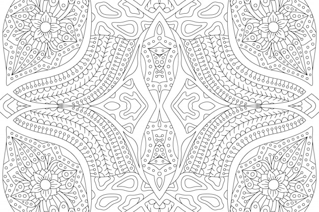 Pagina del libro da colorare con motivo astratto lineare