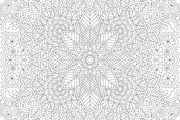 Pagina del libro da colorare con motivo floreale lineare
