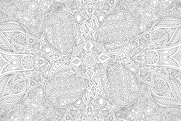 Pagina del libro da colorare con motivo lineare astratto