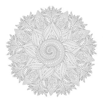Pagina del libro da colorare con motivo rotondo lineare astratto